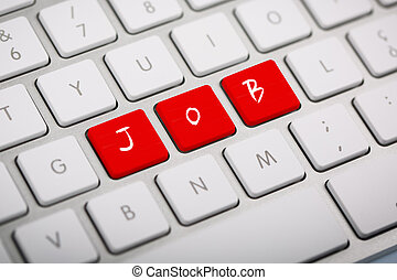 "The word ""JOB"" written on keyboard - The word ""JOB"" written..."