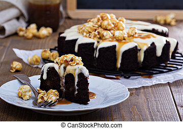 Chocolate ginger pear cake with cream cheese glaze and...