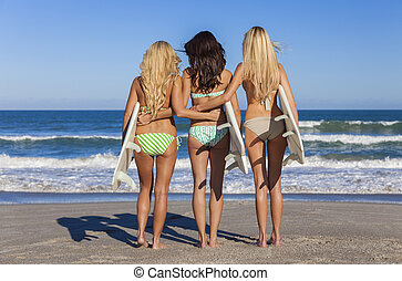 Women Surfer Girls In Bikinis With Surfboards At Beach -...