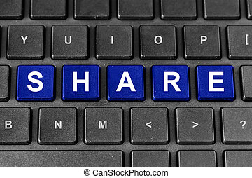 share deal word on keyboard - share blue word on keyboard,...