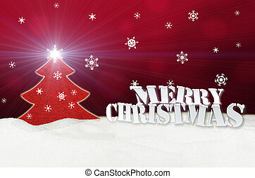 Christmas background - Christmas Tree red - Snow - Merry...