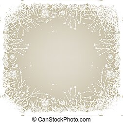 Winter card. Frame made of frozen flowers and snowflakes on...