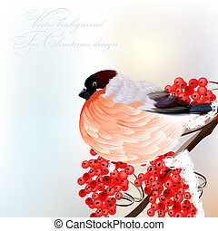 Christmas greeting card with bird on branch - Vector...