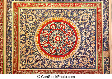 Samarkand - Islamic ornaments at the Shah-i-Zinda,...