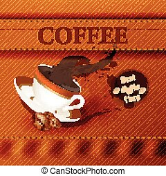 Coffee vector background with canva