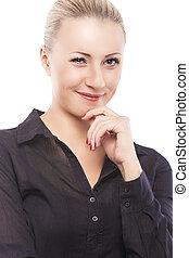 Flitring Demure Caucasian Female Model Over Pure White...