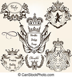 Collection of vector heraldic frames shields and coat of...