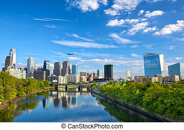 Philadelphia downtown - Downtown skyline and Schuylkill...