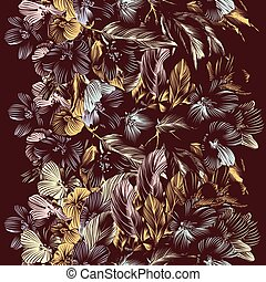 Floral vector seamless background w - Vector seamless...