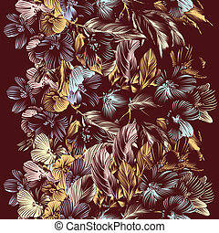 Floral vector seamless background with flowers - Vector...