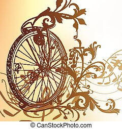 Music background with bike wheel, n - Vector music...