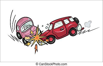 Car crash. - Illustration of two cartoon cars involved in a...