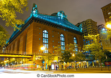 Street of Chicago at night - Public Library and State Street...