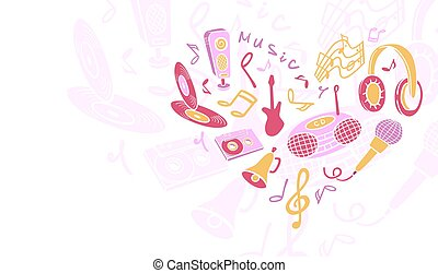 Template design for card. - Template musical objects....