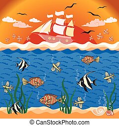 Illustration with fishes and ship. - Vector illustration...