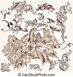 Vector set of hand drawn swirl and floral elements in...