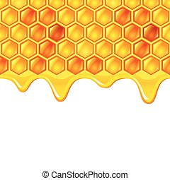 Honeycombs with honey vector background - Honeycombs with...