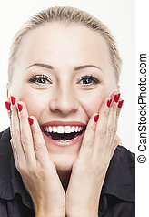 Excited Caucasian Woman Looking Forward with Joy,...