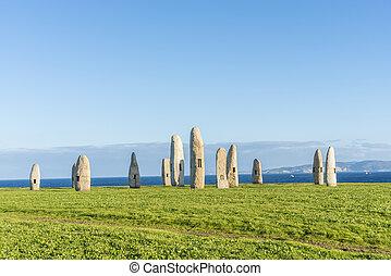 menhirs, parque, en, Un, Coruna, Galicia, españa,