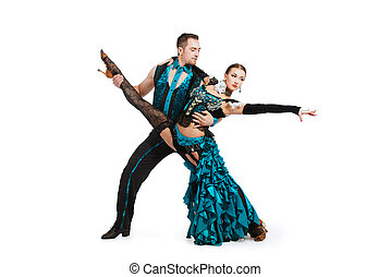 skill partner - Beautiful professional dancers perform tango...