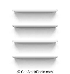Shelves - Set of empty gorizontal bookshelves over white...