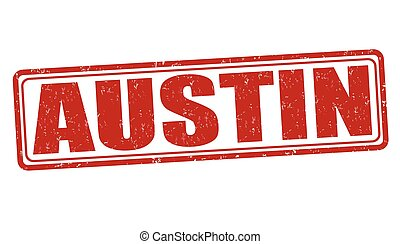 Austin stamp - Austin grunge rubber stamp on white...