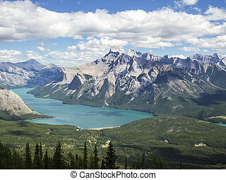 Lake Minnewanka In The Canadian Rockies - As seen from the...
