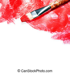 Red strokes on white - Stock image of paintbrush and red...
