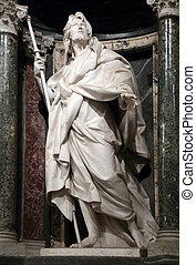 Statue of James the Greater the apostle into a niche in the...