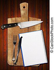 corte, cuaderno, viejo, tabla, vacío