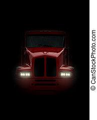camión, venida, de frente