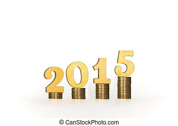 Year 2015 of Gold Coins with White Background