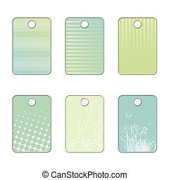 Pastel tags, blue, green and white shades