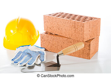 Building brick red on white background