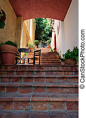 Small terrace on staircase