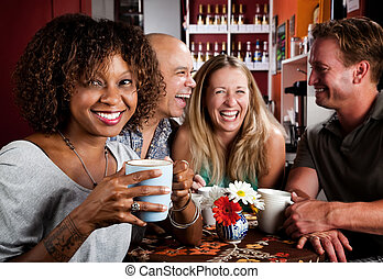 African American Woman with Friends - Pretty African...