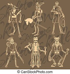 Skeletons - knight Vinyl-ready illustration - Skeletons -...