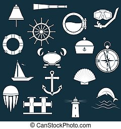 Marine icons - The icons on the theme of the sea, collected...