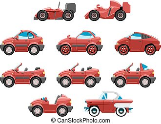 set of sportcar - series of red sport cars with different...