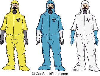 Protective suit - Man in protective suit,blue, yellow, white...