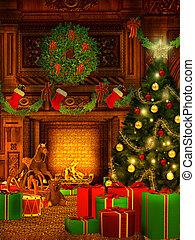 Christmas background in vintage style - magical christmas...