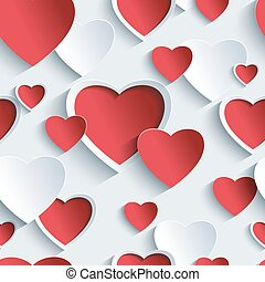 Valentines day seamless pattern with red - grey 3d hearts -...