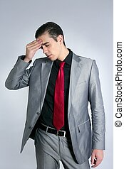 Businessman worried headache stressed and sad by work