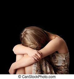 jovem, mulher, depressão