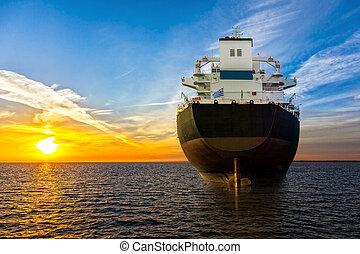 barco, y, salida del sol,