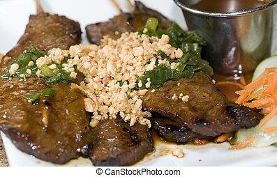 vietnamese food bo nuong sate grilled beef sate skewers with...