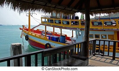 thailand tourist boat - thai seascape with pier and boat