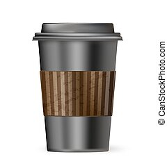 black cup of coffee to go