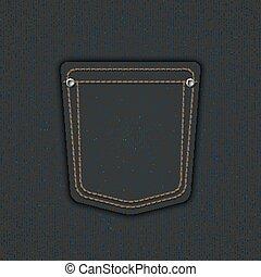 Vector modern denim pocket. Jeans background.