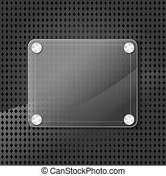 glass frame on metallic background with grid